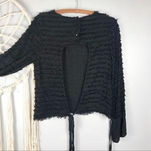 Zara Open Back Textured Striped Bell Sleeve Top